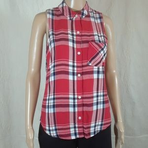SO Perfect Shirt Red, White, and Blue Plaid - Med
